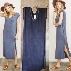 Mystree Casual Maxi dress in blue denim like color